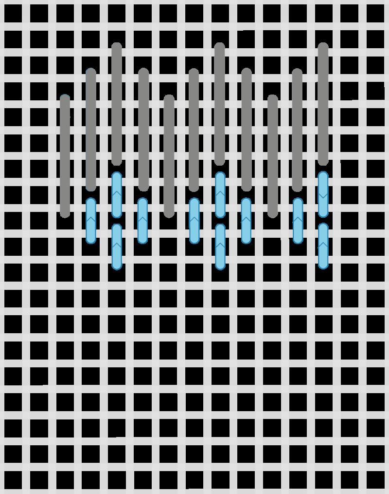 Hungarian grounding stitch method stage 4 illustration
