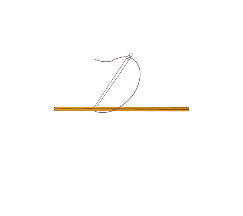 Metal thread couching (goldwork) method stage 1 illustration