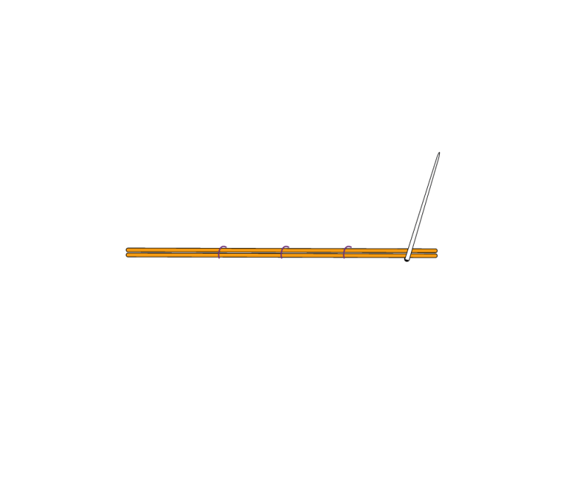 Metal thread couching (goldwork) method stage 3 illustration
