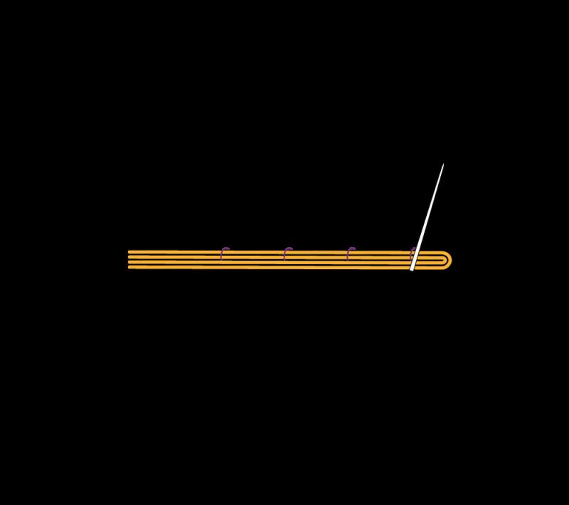 Metal thread couching (goldwork) method stage 4 illustration
