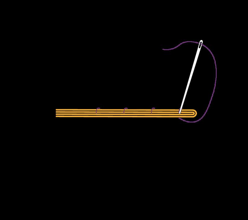 Metal thread couching (goldwork) method stage 5 illustration