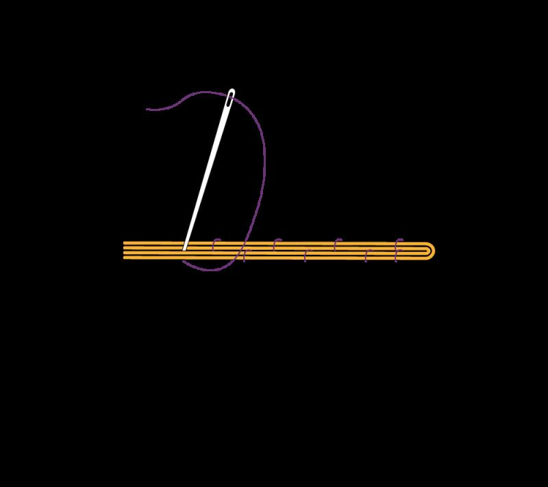 Metal thread couching (goldwork) method stage 7 illustration
