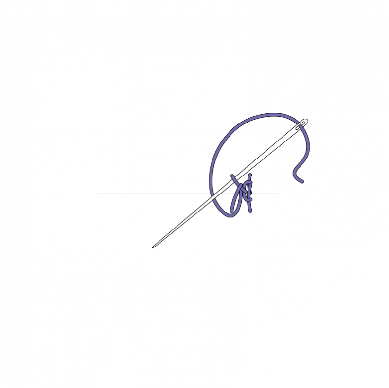 Knotted pearl stitch method stage 9 illustration