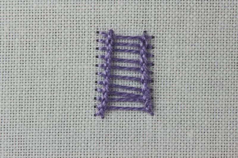 Ladder stitch (surface) method stage 7 photograph