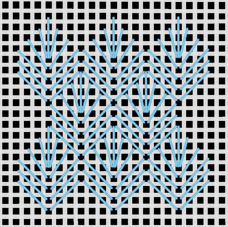 Leaf stitch (canvaswork) method stage 7 illustration