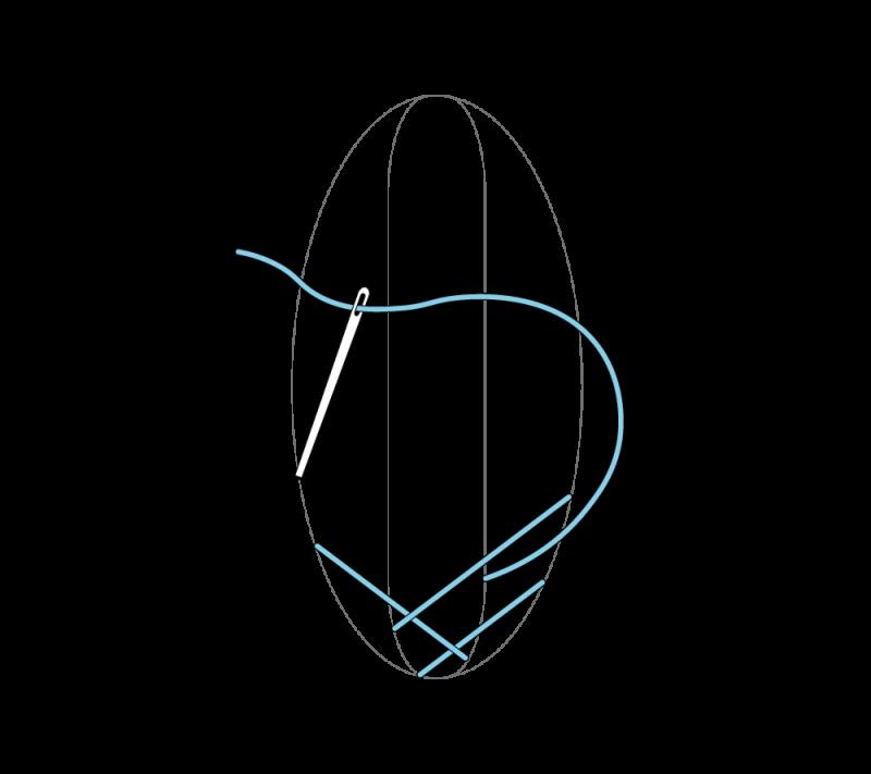 Leaf stitch (surface) method stage 4 illustration