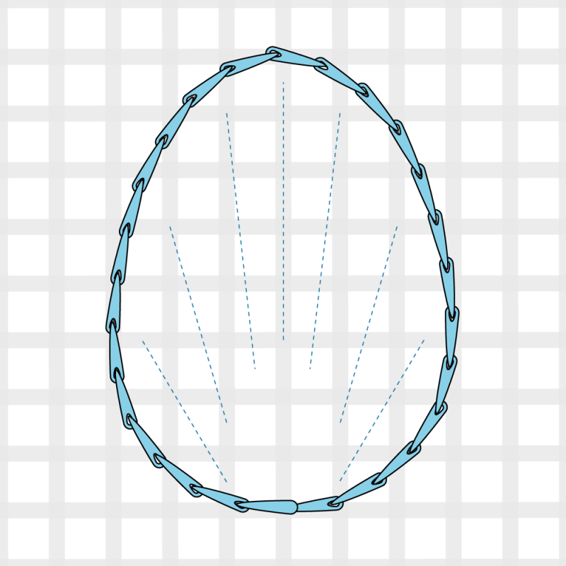 Long and short stitch method stage 1 illustration