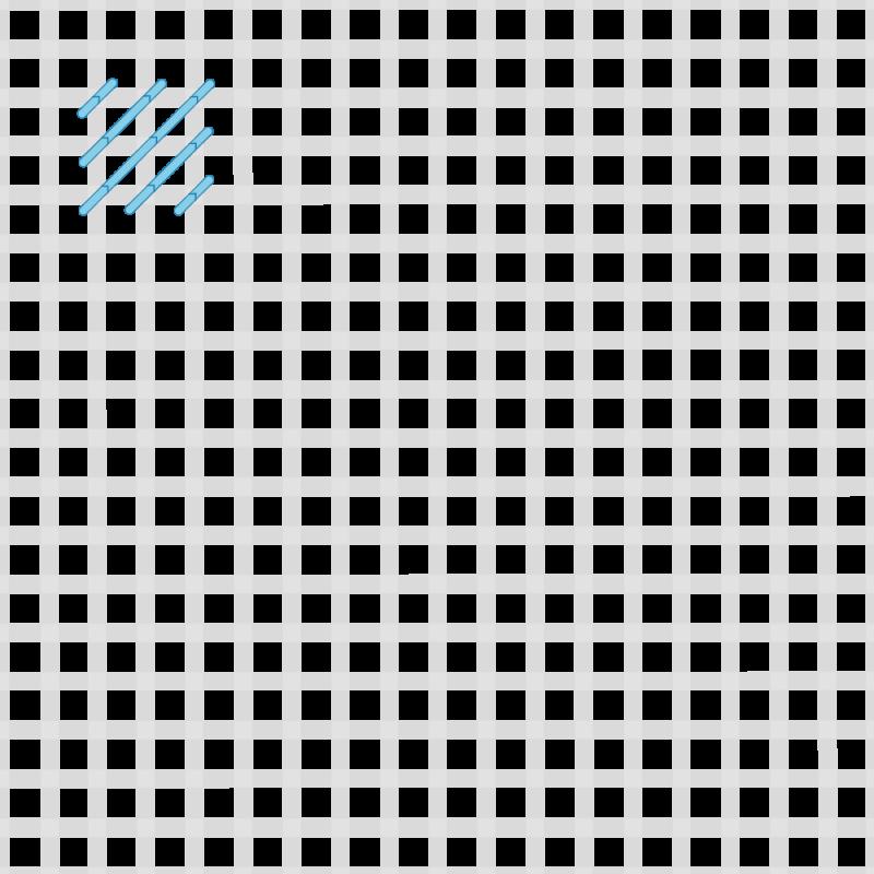 Moorish stitch method stage 1 illustration