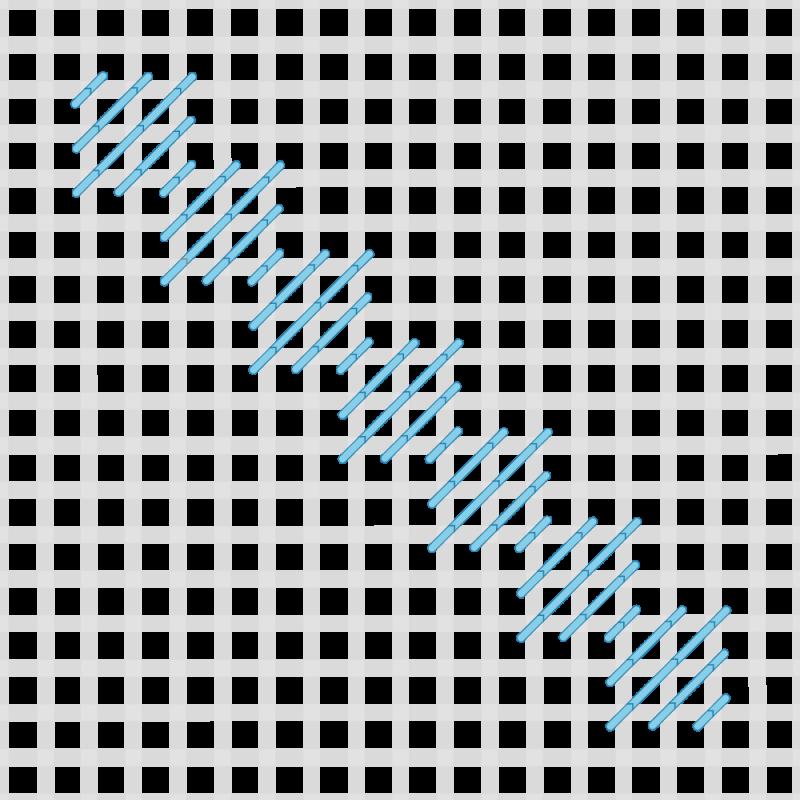 Moorish stitch method stage 2 illustration
