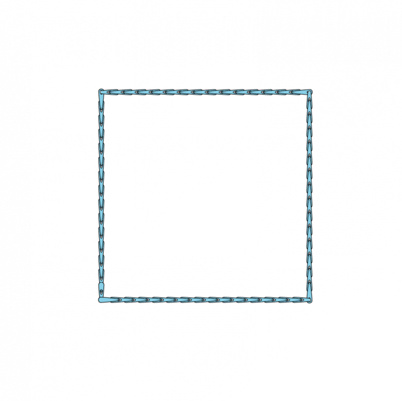 Padded satin stitch (laid work padding) method stage 1 illustration
