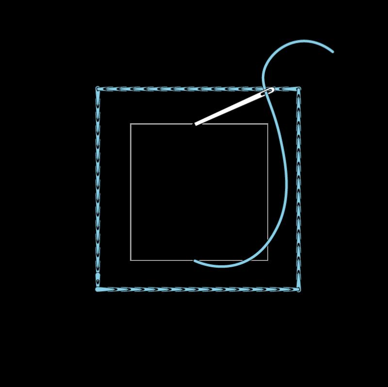 Padded satin stitch (laid work padding) method stage 2 illustration
