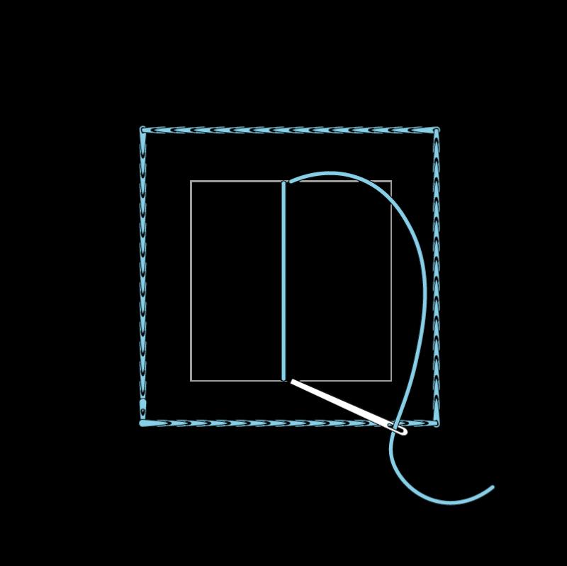 Padded satin stitch (laid work padding) method stage 3 illustration