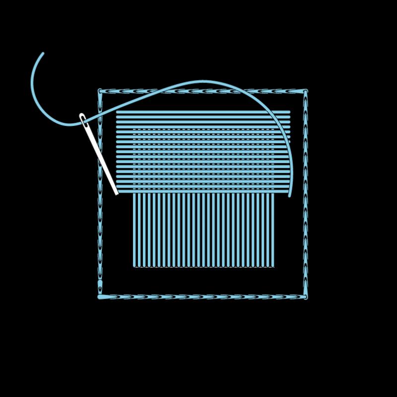 Padded satin stitch (laid work padding) method stage 5 illustration
