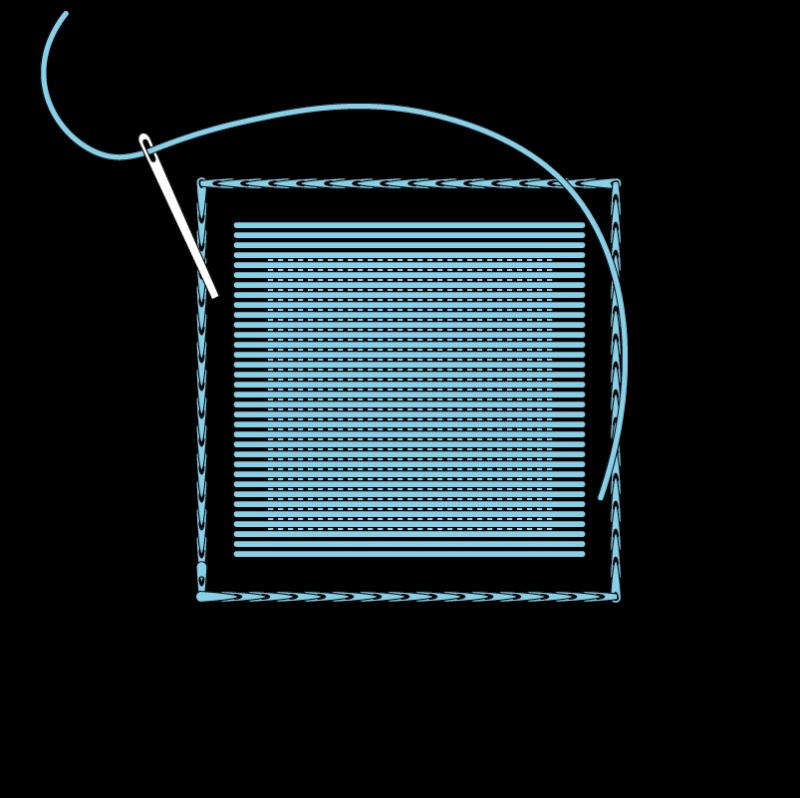 Padded satin stitch (laid work padding) method stage 6 illustration