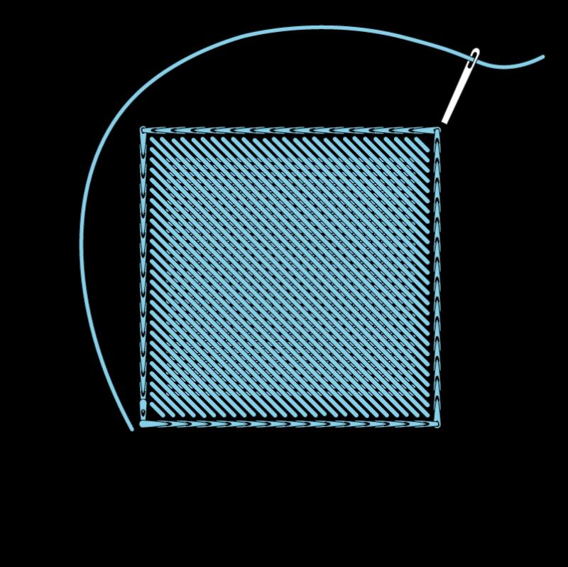 Padded satin stitch (laid work padding) method stage 7 illustration