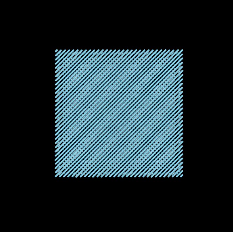 Padded satin stitch (laid work padding) method stage 8 illustration
