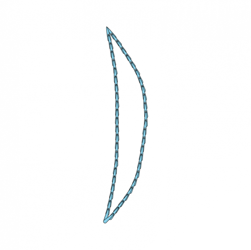 Padded satin stitch (split stitch padding) method stage 1 illustration