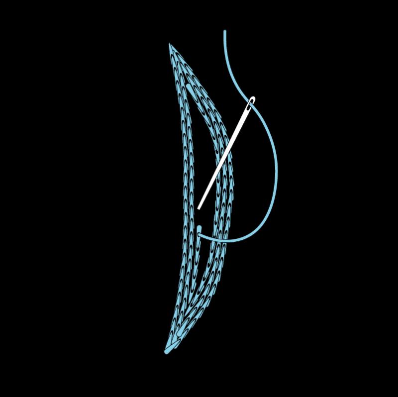 Padded satin stitch (split stitch padding) method stage 2 illustration