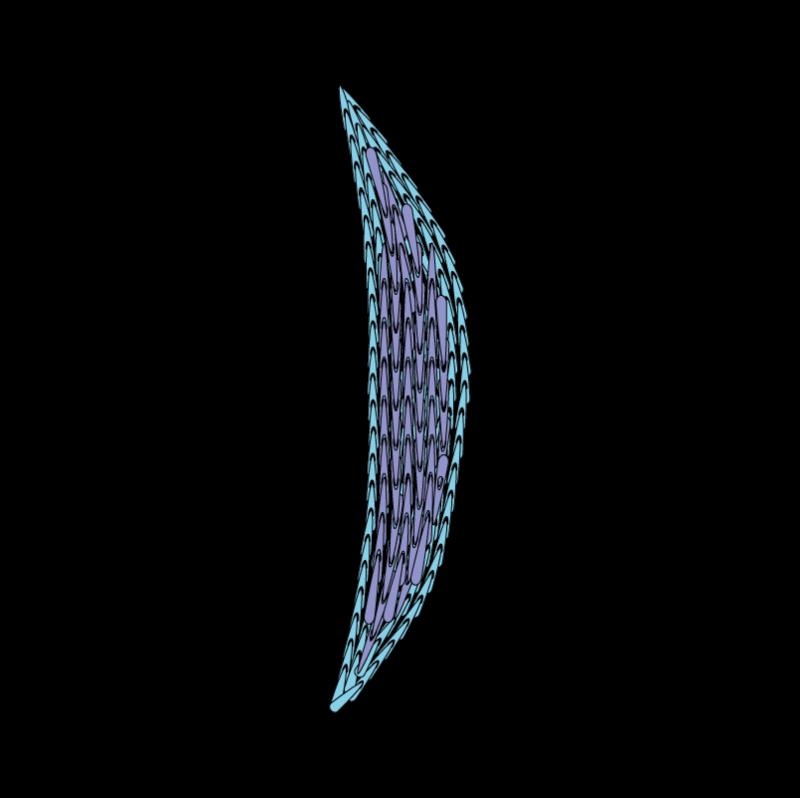 Padded satin stitch (split stitch padding) method stage 4 illustration