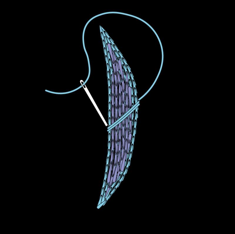 Padded satin stitch (split stitch padding) method stage 5 illustration