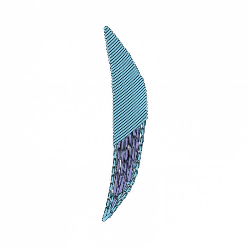 Padded satin stitch (split stitch padding) method stage 6 illustration