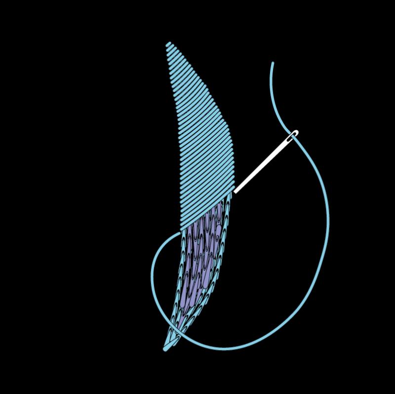 Padded satin stitch (split stitch padding) method stage 7 illustration