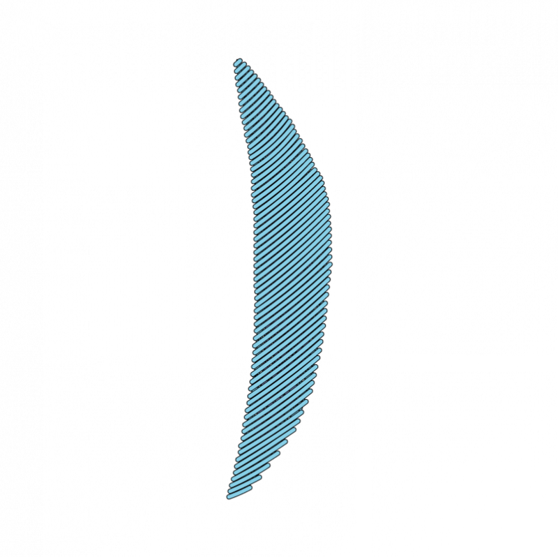 Padded satin stitch (split stitch padding) method stage 8 illustration