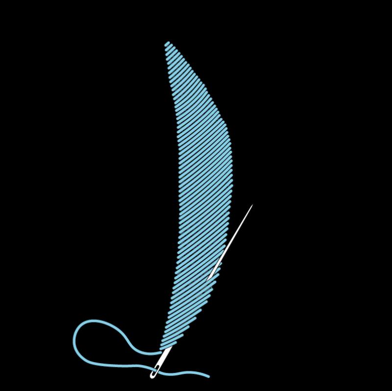 Padded satin stitch (split stitch padding) method stage 9 illustration