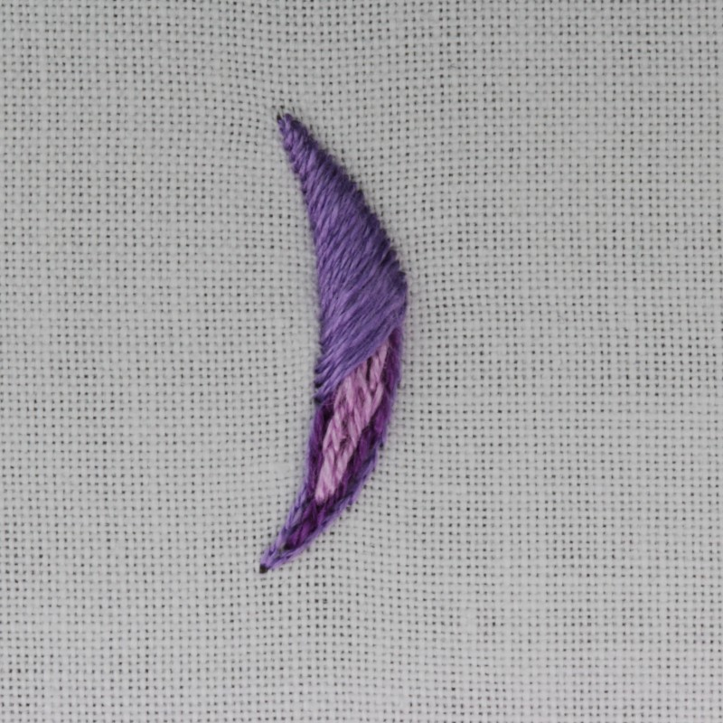 Padded satin stitch (split stitch padding) method stage 6 photograph