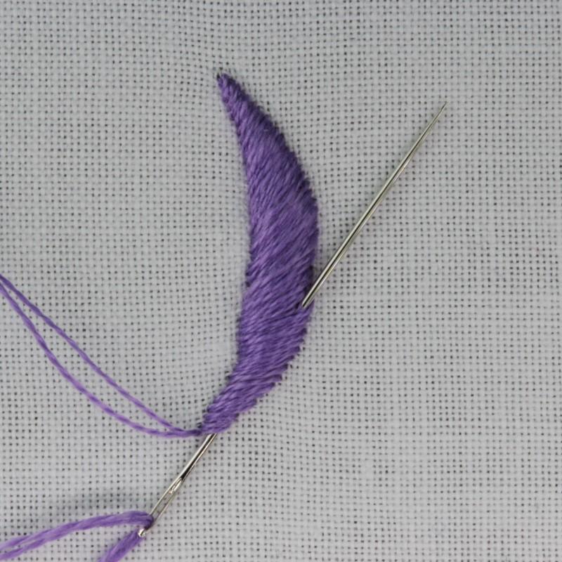 Padded satin stitch (split stitch padding) method stage 9 photograph