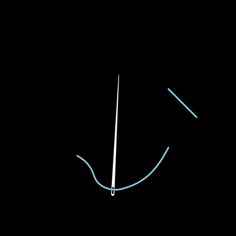Pearl stitch (variation) method stage 2 illustration