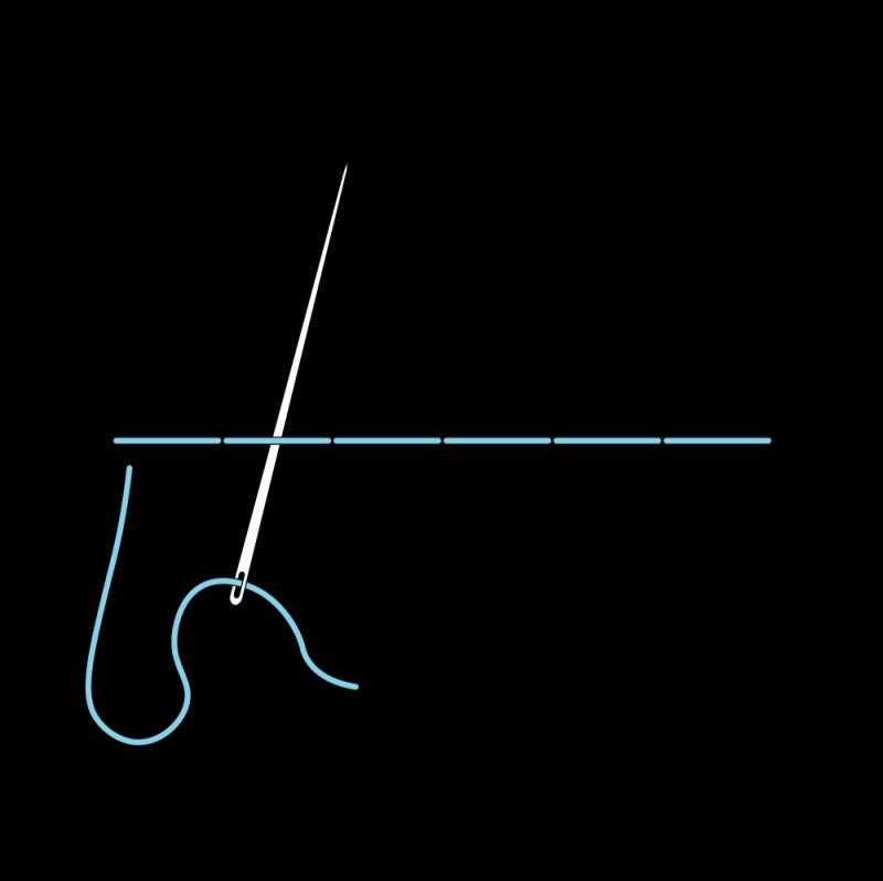 Pekinese stitch method stage 2 illustration