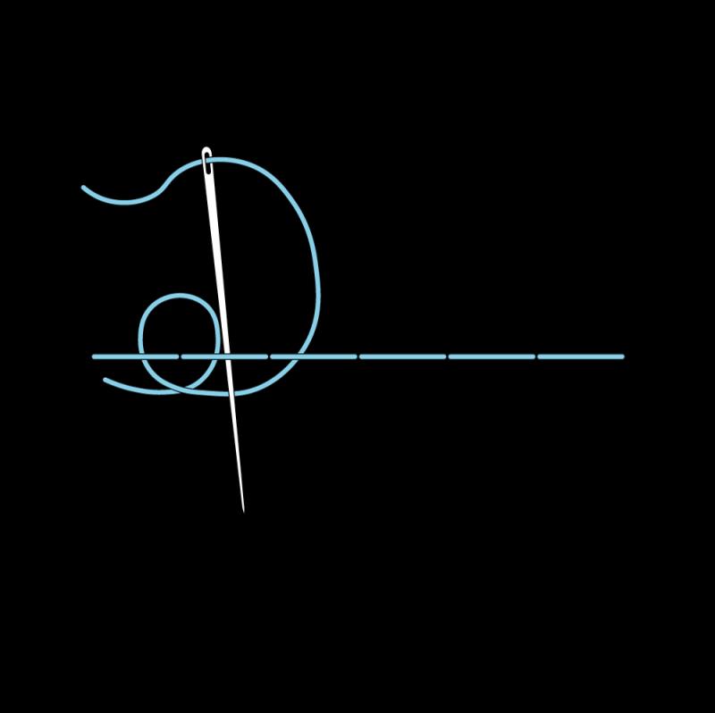 Pekinese stitch method stage 4 illustration