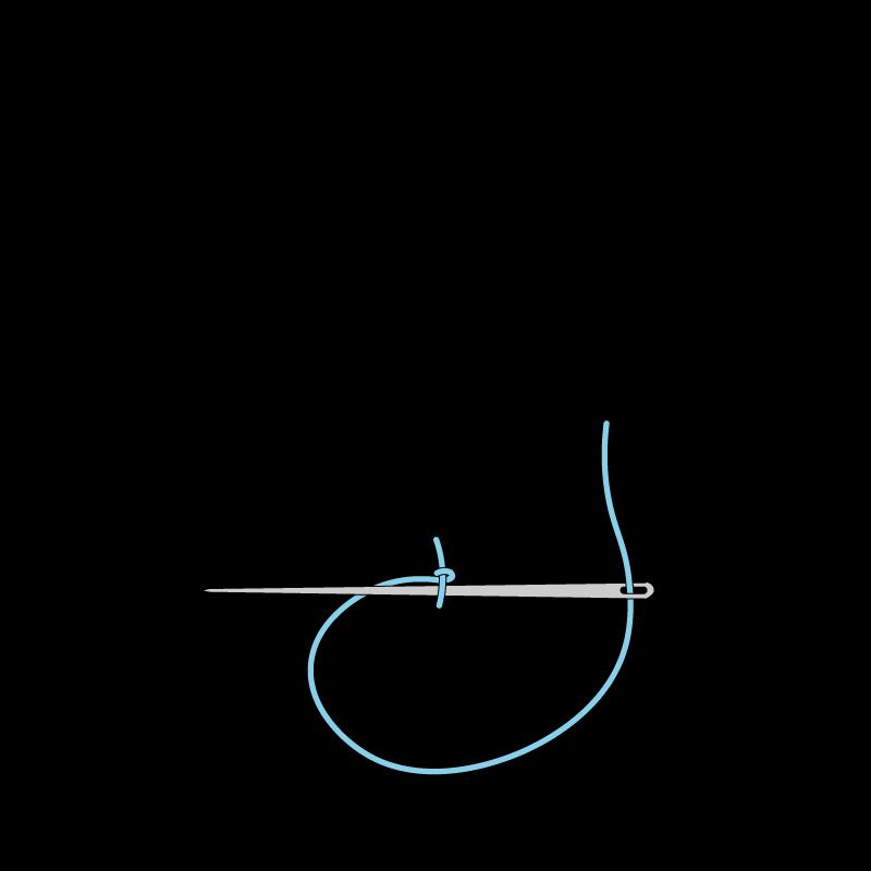 Portuguese knotted stem stitch method stage 2 illustration