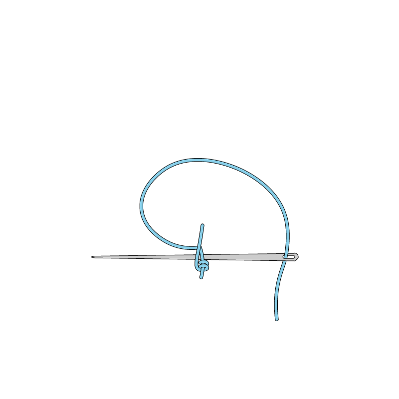 Portuguese knotted stem stitch method stage 5 illustration