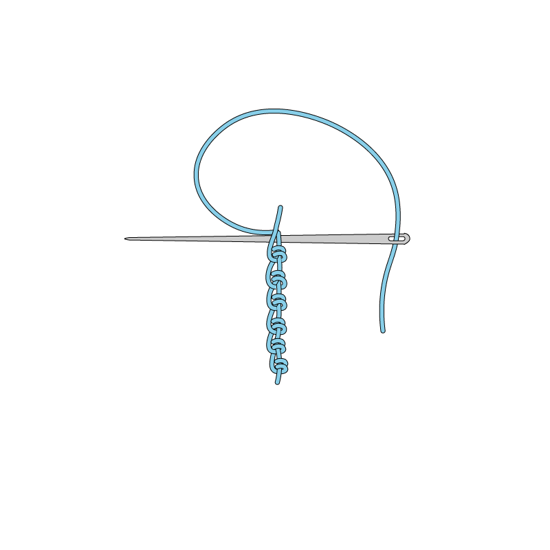 Portuguese knotted stem stitch method stage 7 illustration