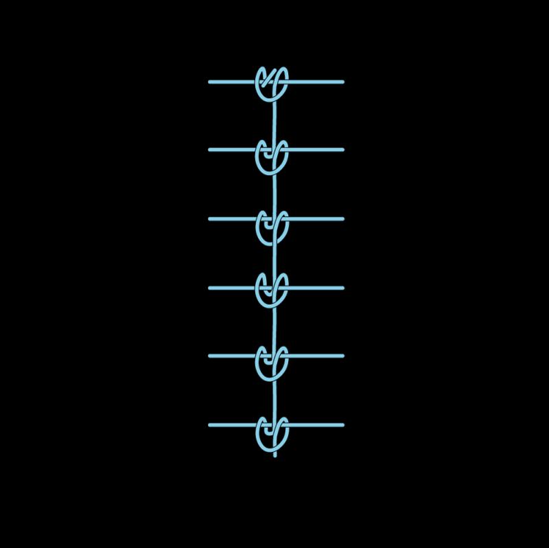 Raised chain band stitch method stage 10 illustration