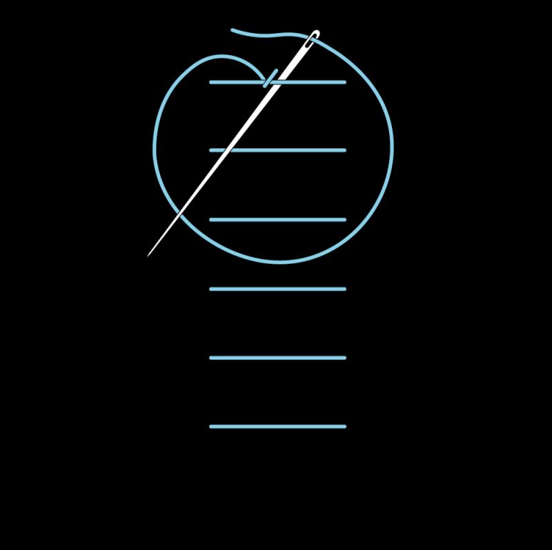 Raised chain band stitch method stage 4 illustration