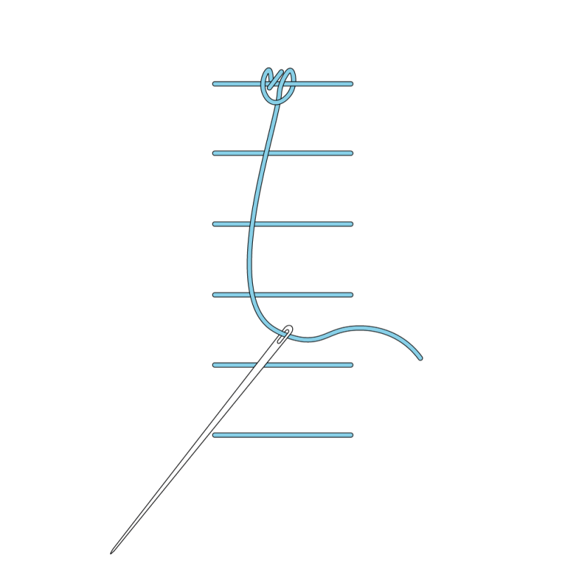 Raised chain band stitch method stage 5 illustration