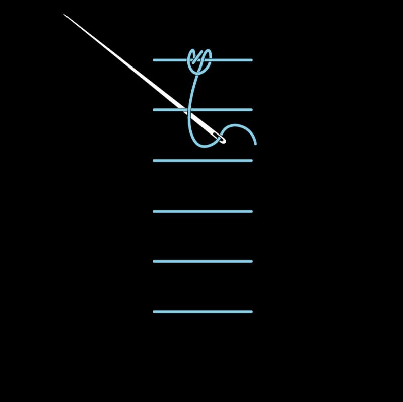 Raised chain band stitch method stage 6 illustration