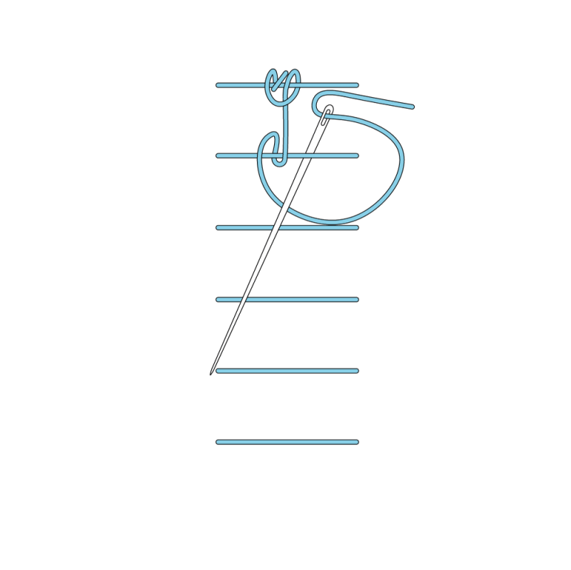 Raised chain band stitch method stage 8 illustration