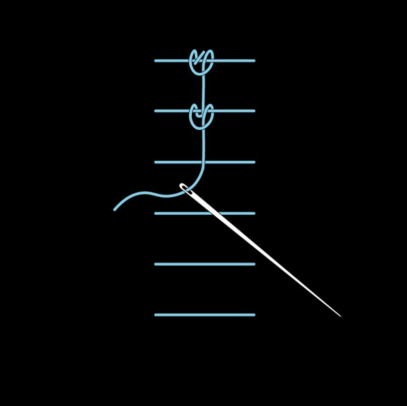 Raised chain band stitch method stage 9 illustration