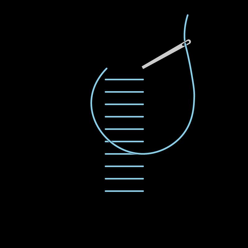 Raised stem band stitch method stage 1 illustration