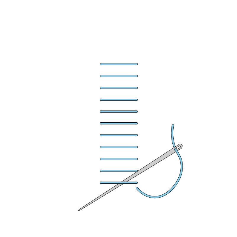 Raised stem band stitch method stage 3 illustration