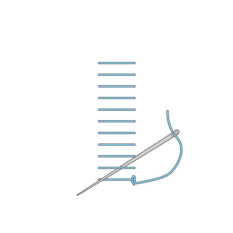 Raised stem band stitch method stage 4 illustration