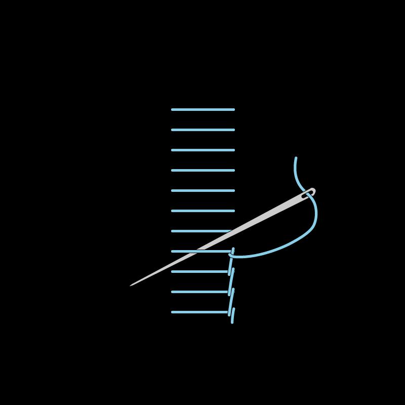 Raised stem band stitch method stage 5 illustration