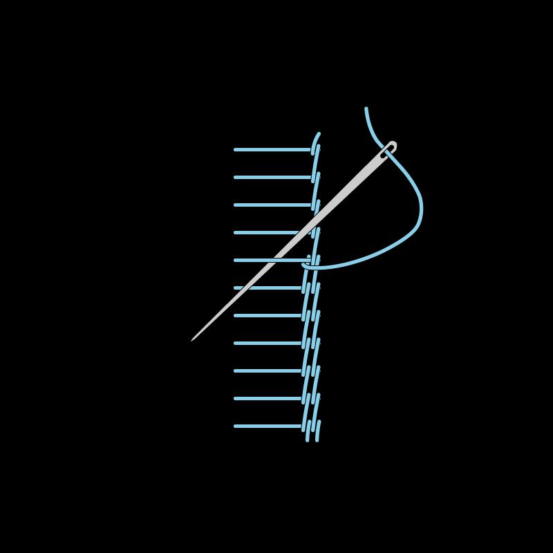 Raised stem band stitch method stage 7 illustration