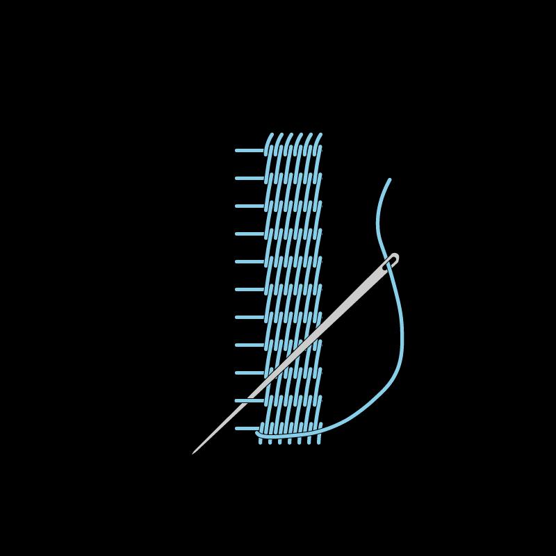 Raised stem band stitch method stage 8 illustration