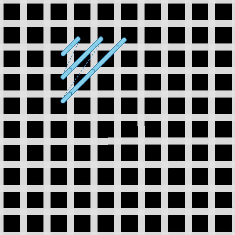 Reversed cushion stitch method stage 2 illustration