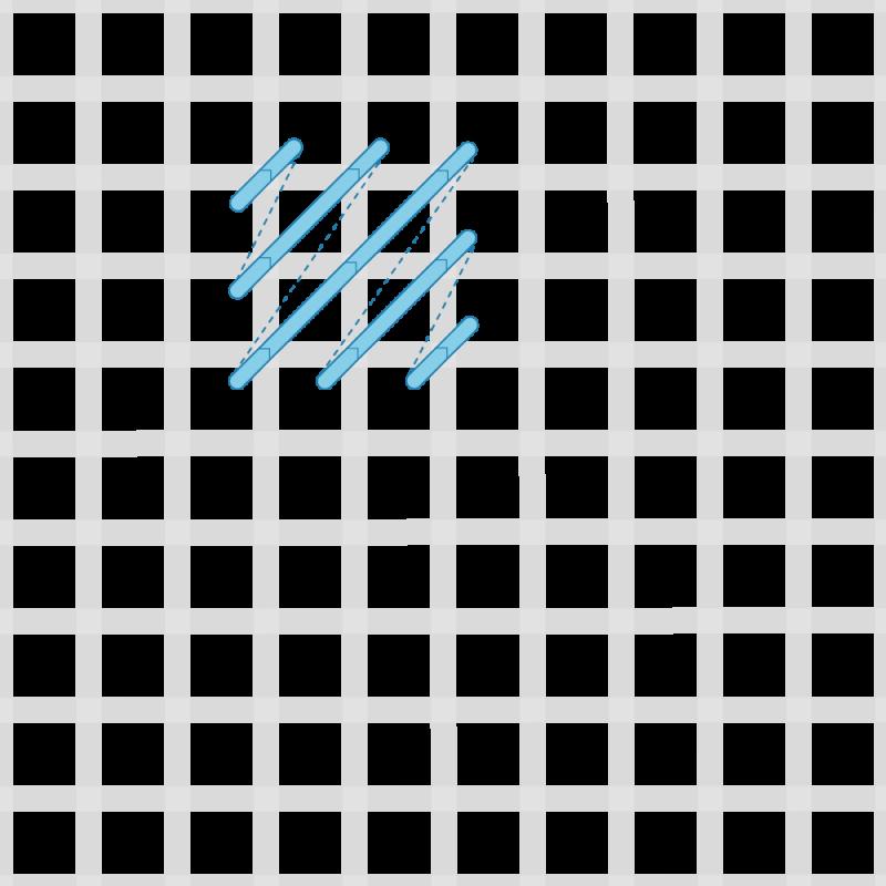 Reversed cushion stitch method stage 3 illustration